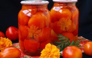 Засолка помидоров на зиму с бархатцами